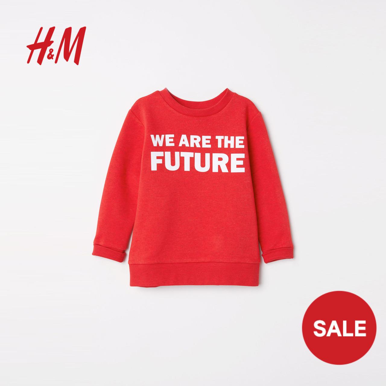 H&M童装女童2018年新款柔软拉绒字母图案长袖套头卫衣 HM0621766