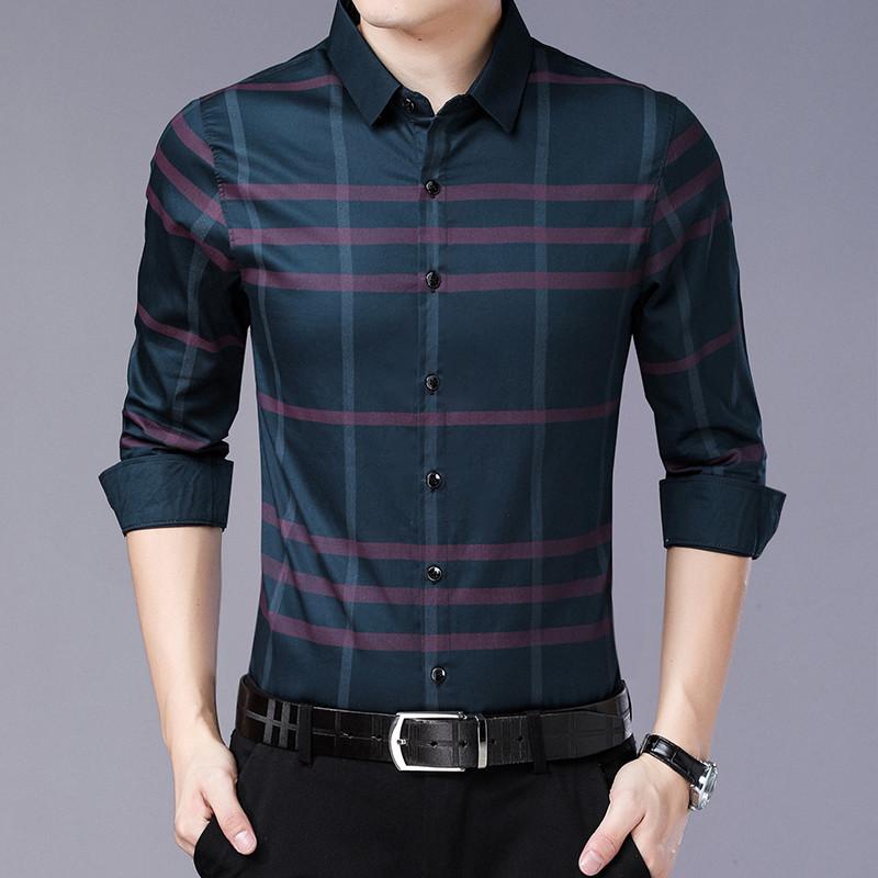 春秋季男士衬衫长袖薄款衬衣潮