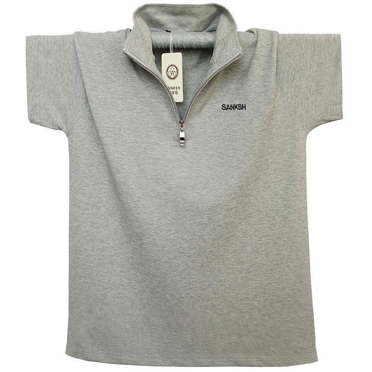Kích thước lớn nam ve áo ngắn tay nửa dây kéo nam T-Shirt cotton cộng với phân bón để tăng thể thao T-Shirt nam mồ hôi tuyết tùng t máu áo form rộng nam