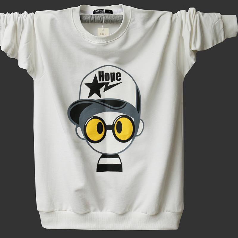 Teen t-shirt kích thước lớn cotton vòng cổ mùa xuân và mùa thu dài tay nam sinh viên T-Shirt cộng với phân bón để tăng của nam giới thể thao áo thun nam form rộng