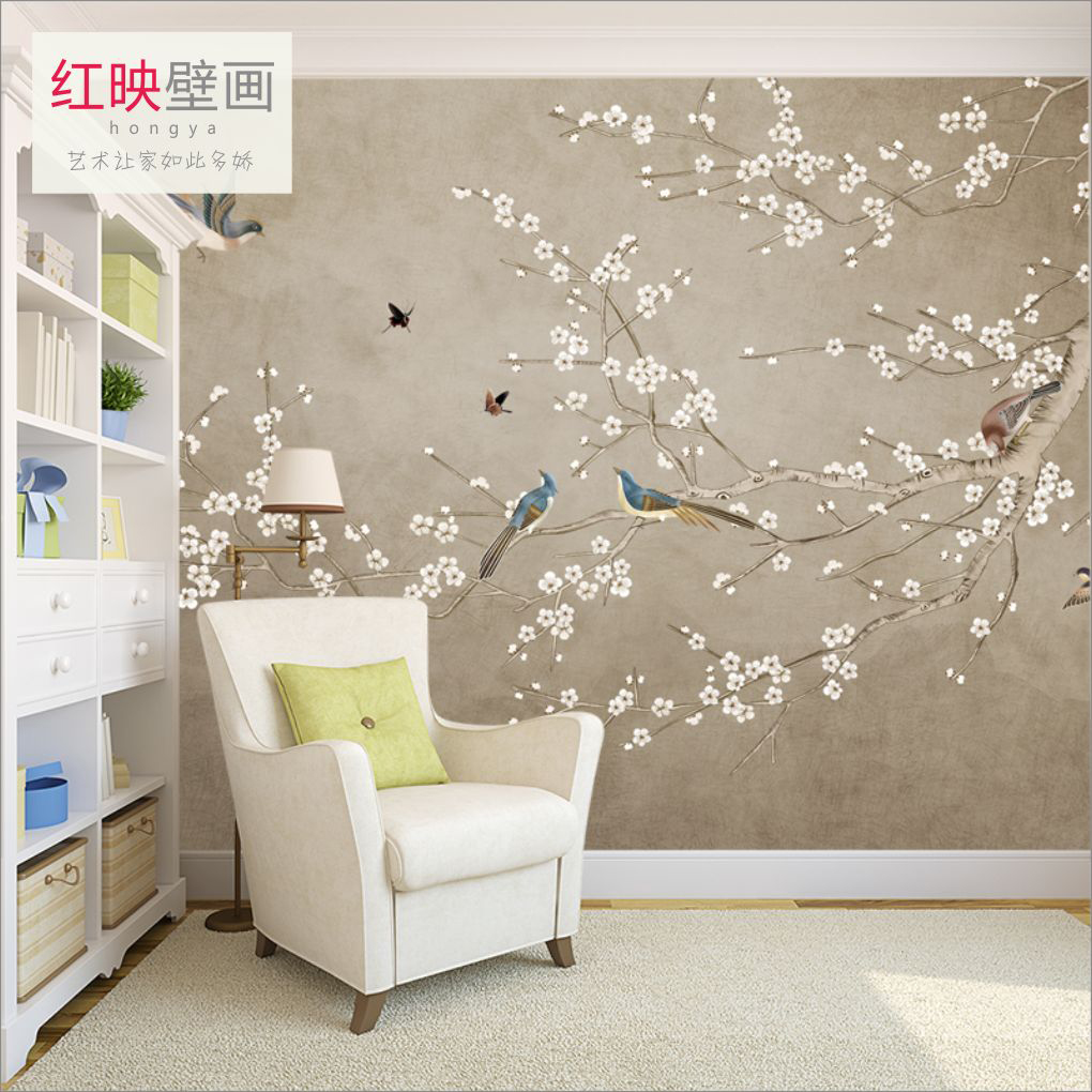 New Chinese hand-painted flowers and birds seamless TV wallpaper ...