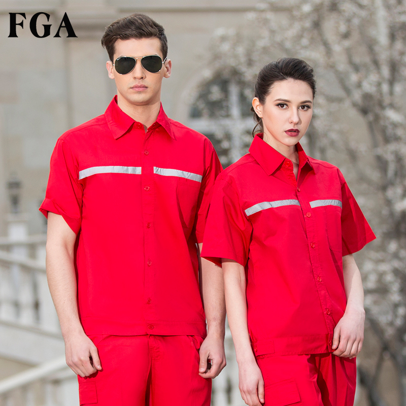 FGA summer gas station overalls suit male short-sleeved breathable tooling in oil and petrochemical anti-static overalls