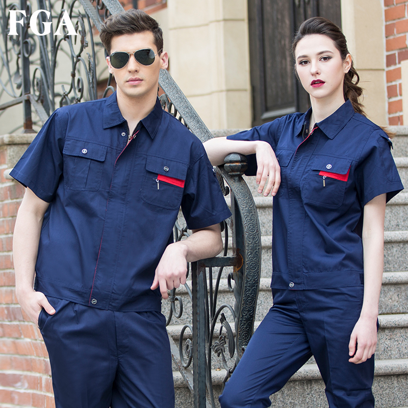 FGA summer short-sleeved overalls suit men's thin section wear-resistant auto repair custom factory clothes coat labor insurance