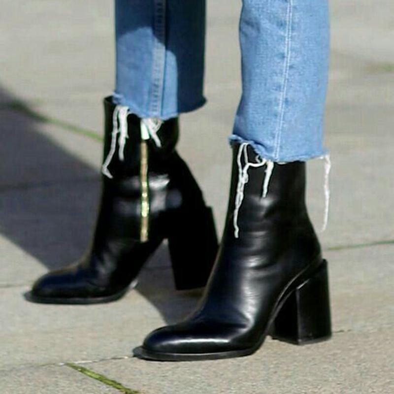 欧洲站女鞋2019早秋新款尖头粗跟高跟超ins马丁靴女真皮中筒短靴