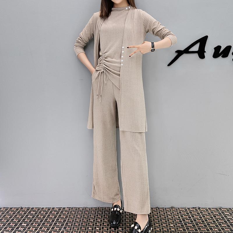 香港IT潮牌大码宽松件套200斤女洋气显瘦阔腿裤三套装2019新款胖
