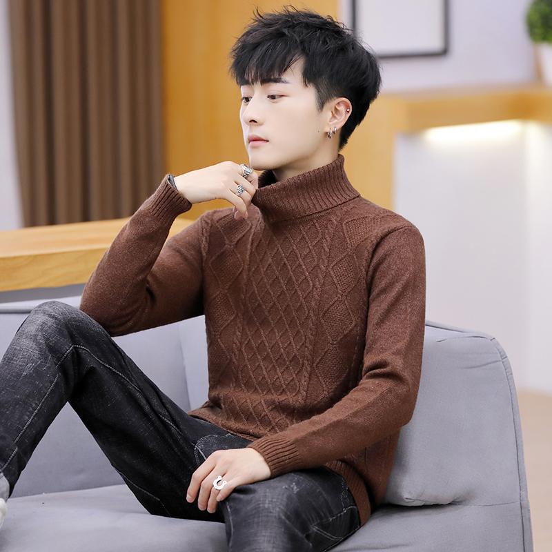 羊绒衫男秋冬季长袖毛衣男士纯色圆领领套头羊绒针织衫打底衫