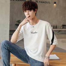 纯棉夏季男士短袖T恤男潮流七分袖