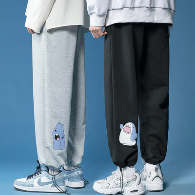 Black and gray sports casual pants summer trend line creative bear shark couple small fresh anime matching suit