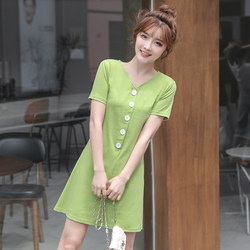 2020 summer women's a sweet little word Slim thin waist fashion Western style short-sleeved V-neck dress child