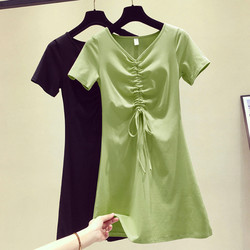 Summer Korean version of V-neck short-sleeved slim waist sexy a-line thin student drawstring pure cotton casual dress