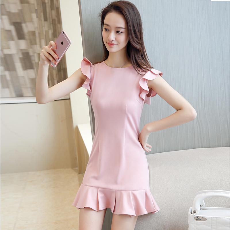 2019新款韩版夏季短款鱼尾裙小个子无袖修身显瘦连衣裙纯色小清新