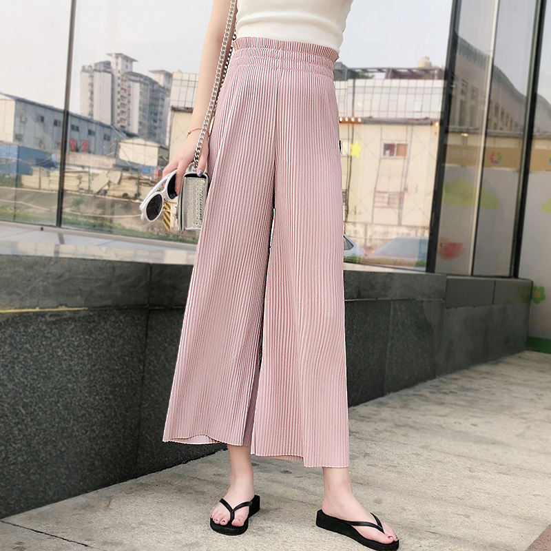Korean version of bf high waist pleated wide leg pants female summer nine points 2018 new chic students loose ulzzang pants