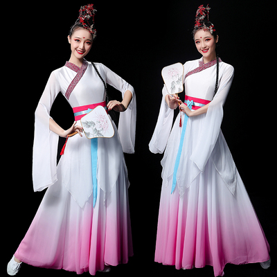 Chinese Folk Dance Costume Classical Dance Costume Chinese Wind Fairy Modern Fan Dance Costume with Long Skirt Adults