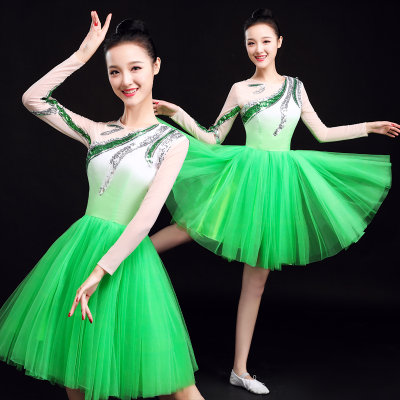 Chinese Folk Dance Costume Modern Dance Costume short skirt chorus costume square dance costume suit for adult women