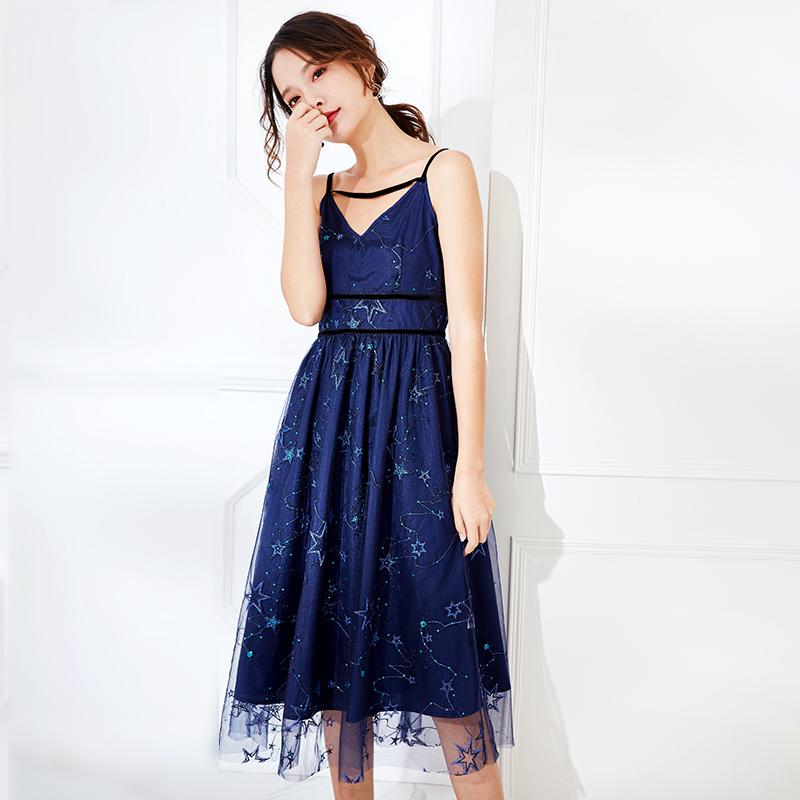 小眾連衣裙深藍星空吊帶連衣裙