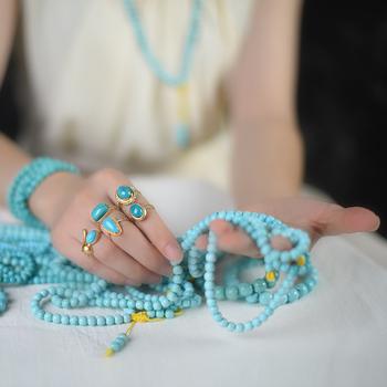Цепочки на руку,  Восхищаться порошок однако оригинал мое бирюза браслеты с бисером разброс бисер кулон тройник ожерелье кольцо модель пьеса кулон живая, цена 134 руб