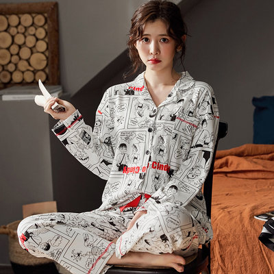 Long-sleeved cotton pajamas autumn female Korean version of the loose large size autumn and winter students two sets of cardigan home service spring, autumn