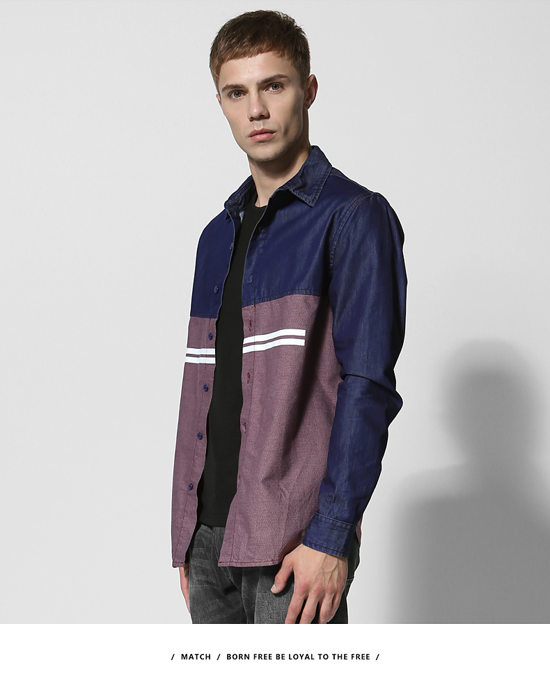 Match Maggie denim long-sleeved men's shirt spring style men's youth top personality hipster men's stitched shirt 2014 36 Online shopping Bangladesh