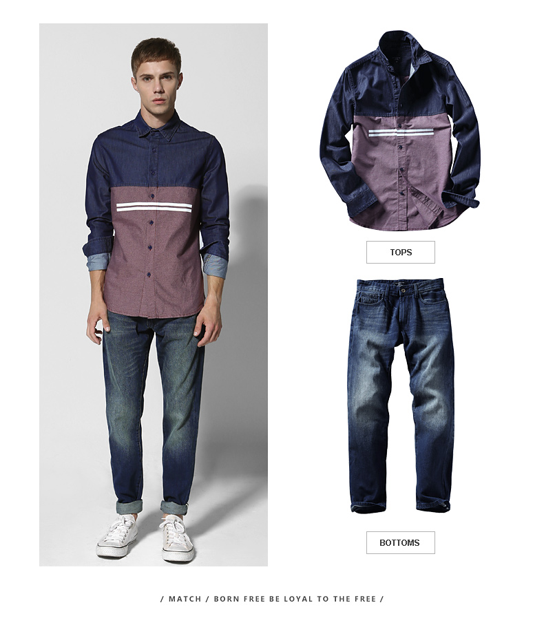 Match Maggie denim long-sleeved men's shirt spring style men's youth top personality hipster men's stitched shirt 2014 37 Online shopping Bangladesh