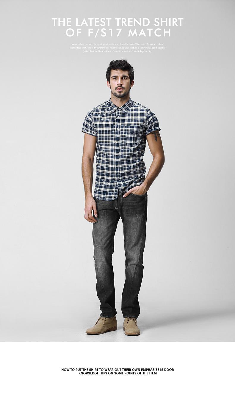 Match maggie short-sleeved shirt men's half-sleeve summer casual square collar shirt slim G2213 (Lang S) 31 Online shopping Bangladesh