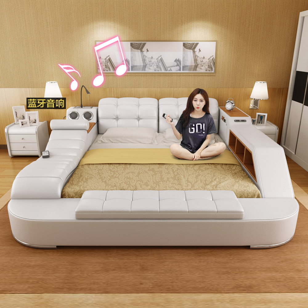 Usd Massage Leather Bed Tatami Bed Leather Bed Skin Art Bed 1 8 Meters Storage Wedding