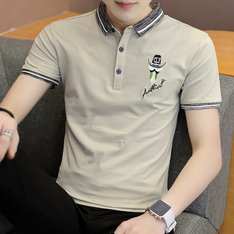 7afc7d6a517e 2018 Summer men s short-sleeved lapel slim youth Korean half-sleeved polo  polo shirt T-shirt male trend clothes