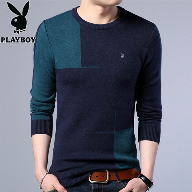 Playboy men's sweater autumn and winter new thick long-sleeved Round Collar bottomed-down men's sweater headline