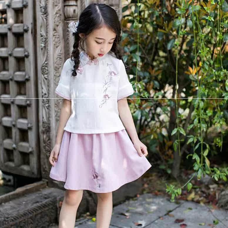 仙女俩件套时髦演出服幼儿园女宝宝旗袍裙女童唐装汉服唐服薄款