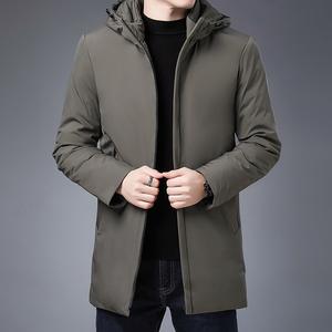 乔诺恩男士冬季中长款羽绒棉服保暖上衣纯色简约连帽棉服棉衣帅气