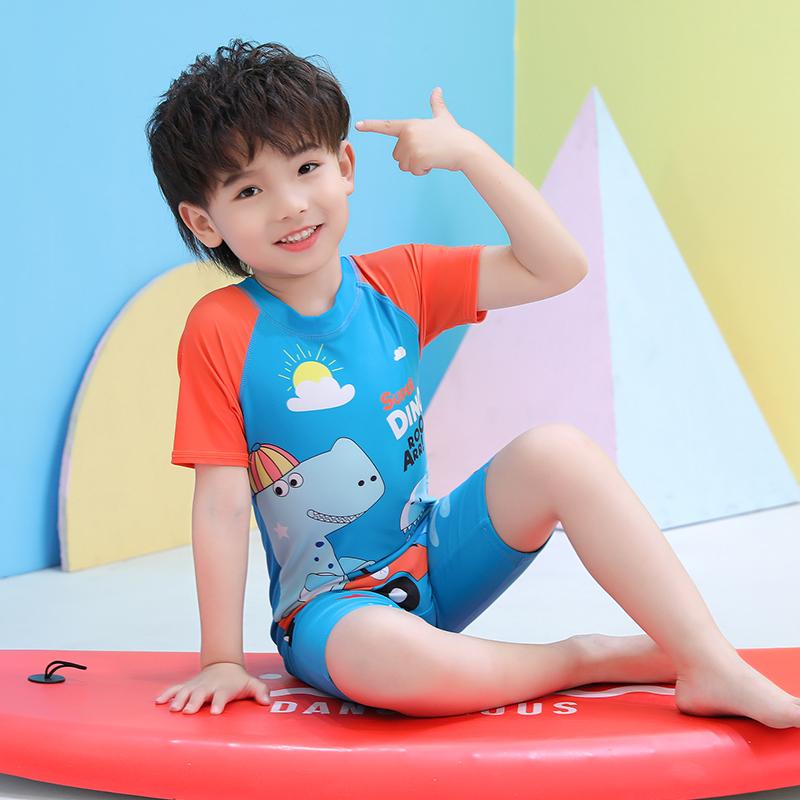 儿童连体游泳衣男童宝宝卡通恐龙泳裤温泉套装小童中大童防晒泳装