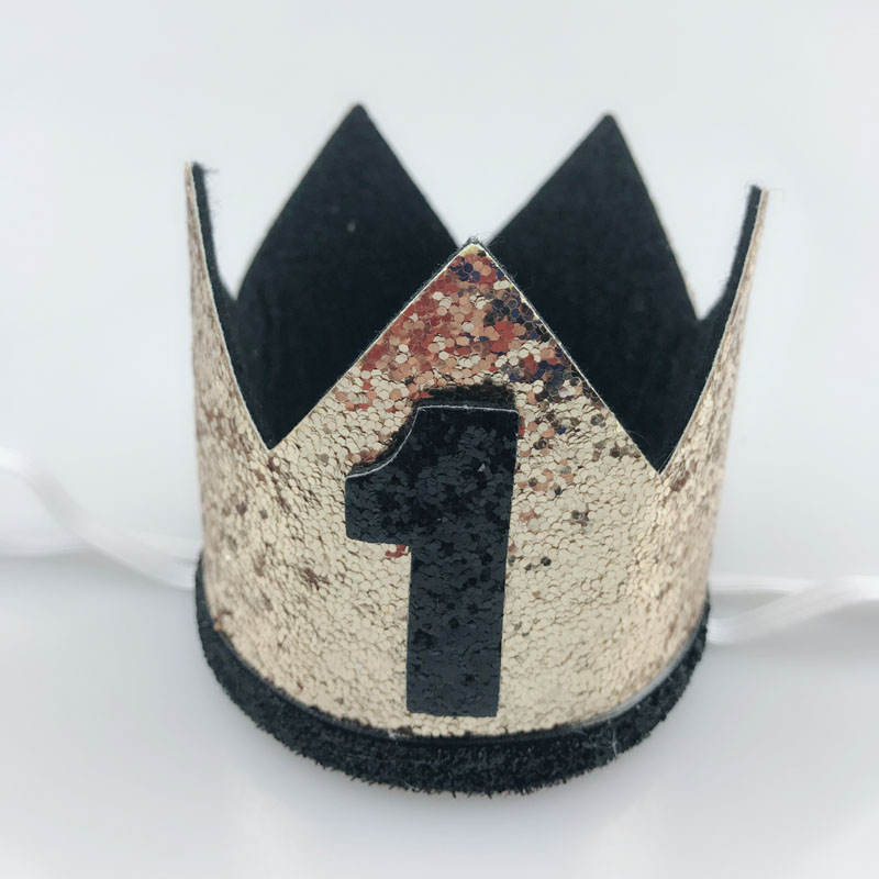 Black Crown Birthday Hat 1 Year 2 3 4 5 Old Boy Girl