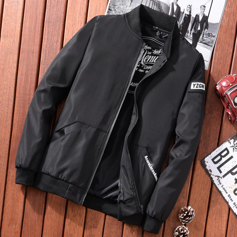 夹克棒球外套男装男士春季流行热卖韩版外套修身黑色v夹克潮流服男
