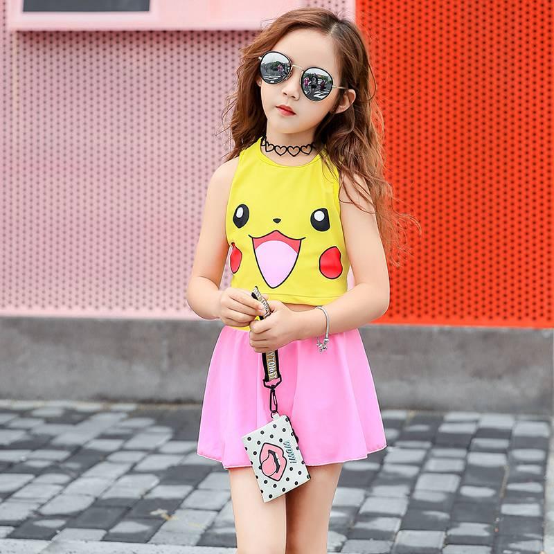 Quần áo trẻ em nữ dễ thương pikachu vest chia công chúa váy phong cách trẻ lớn học sinh tiểu học mùa xuân đồ bơi nóng - Bộ đồ bơi của Kid