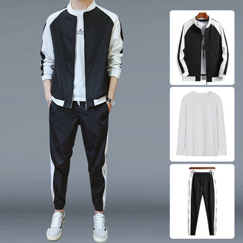 2020 Spring ins suit male tide brand men's leisure sports three-piece suit of clothes Korean tide loose
