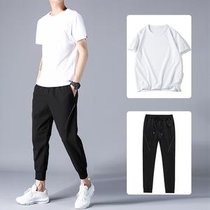 短袖t恤男士夏季休闲套装男韩版潮流帅气一套衣服ins潮牌两件装薄
