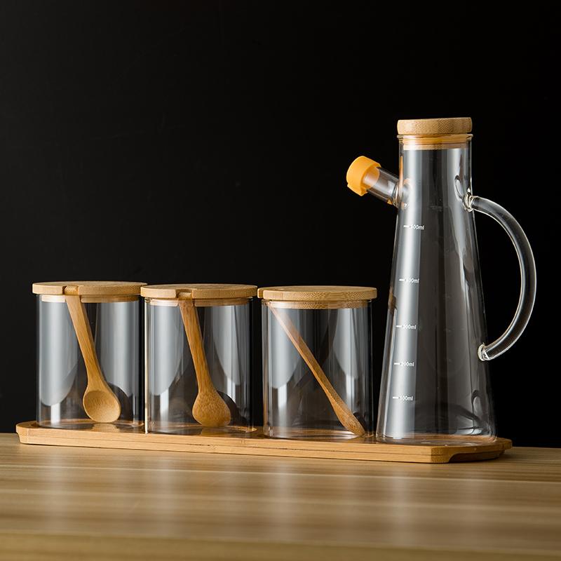 调味罐套装玻璃大罐子盐厨房北欧v套装装单个家用盒日式调料佐料瓶