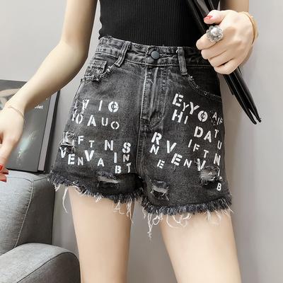 毛边破洞牛仔短裤女宽松裤子夏季新款高腰显瘦百搭阔腿热裤潮