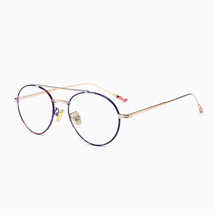 Очки Металл ретро литературный маленькая версия пилота с огромной линзы ультра-легкий круглая рамка двойной луч корейской версии плоский свет очки кадр миопия