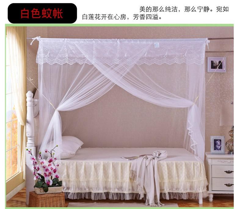 穿竹老式传统蚊帐单门方顶1.5m加密老款普通1.8M床双人蚊帐防尘顶