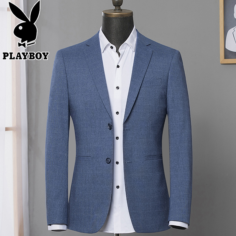 Playboy spring new men's suit top trim dark patterned youth plaid body small blue suit