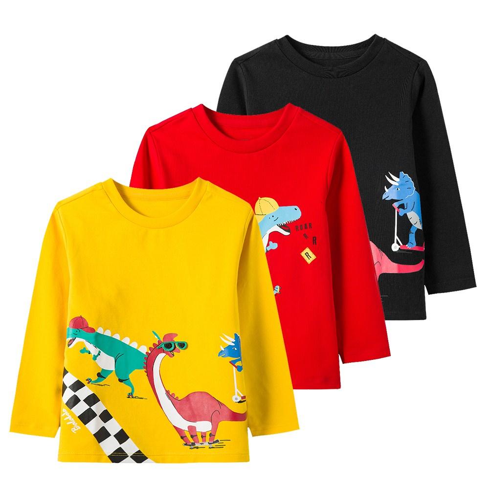 巴拉努彼新装2020春秋款长袖圆领卫衣可爱童恐龙男童T恤薄款幼小