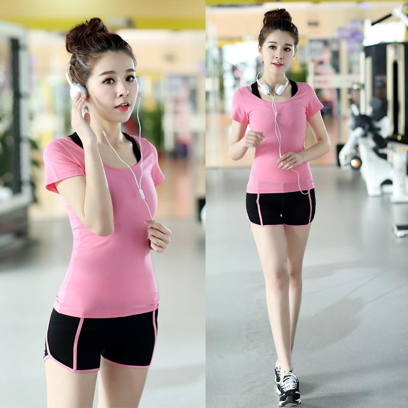 韩国春夏季瑜伽服三件套装女健身房运动上衣背心速干专业显瘦大码