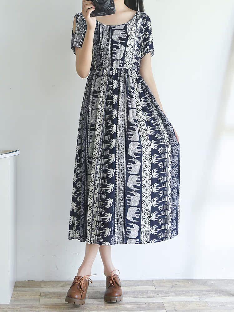 夏季棉绸连衣裙女长裙短袖显瘦露肩夏天高腰绵绸韩国漏肩装裙子