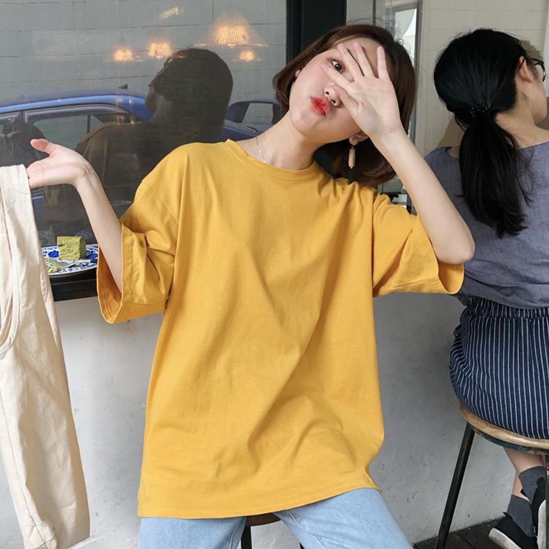 Корейская версия Летний шикарный ветер простой рыхлый студент кислотный короткий рукав футболка верх Одежда нижняя рубашка