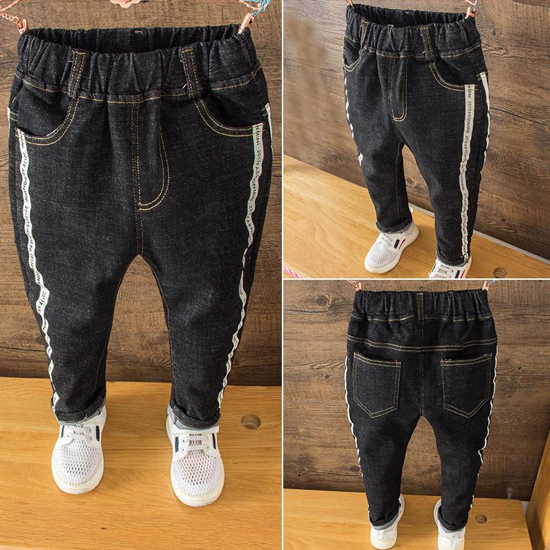 Quần jeans cho bé mùa thu đông trẻ em cộng với quần nhung nam trẻ em mùa thu 2018 bé trai mới mặc quần âu thủy