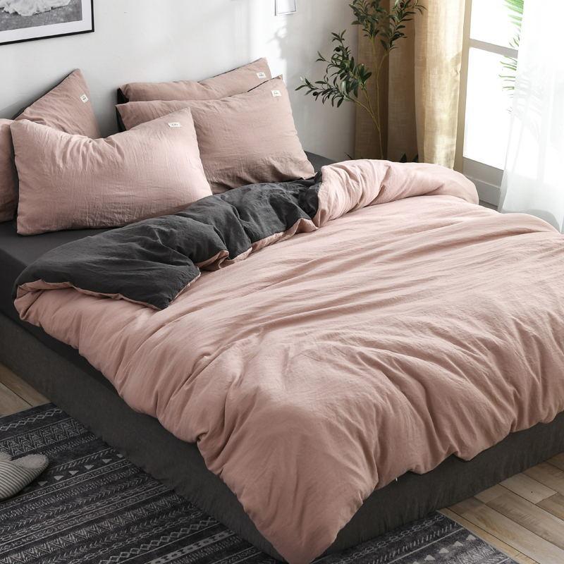水洗棉纯色四件套床上用品简约床单被罩枕套宿舍三件套1.2m四件套