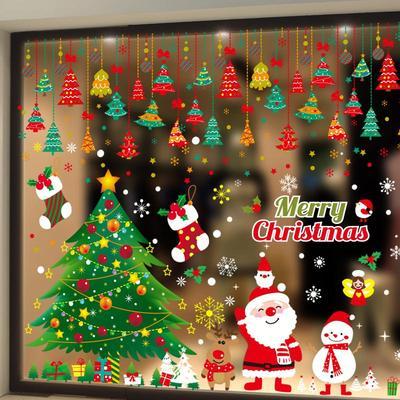 圣诞节装饰品墙贴玻璃橱窗贴纸花环雪花树