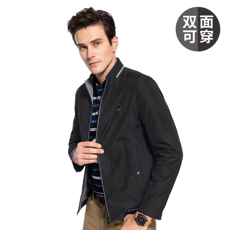 骆驼男装两面穿外套 男士立领修身商务休闲夹克衫潮2017秋季新款