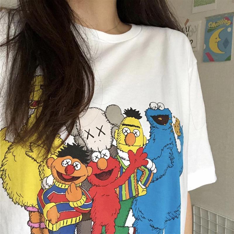 超火kaws芝麻街联名短袖情侣T恤