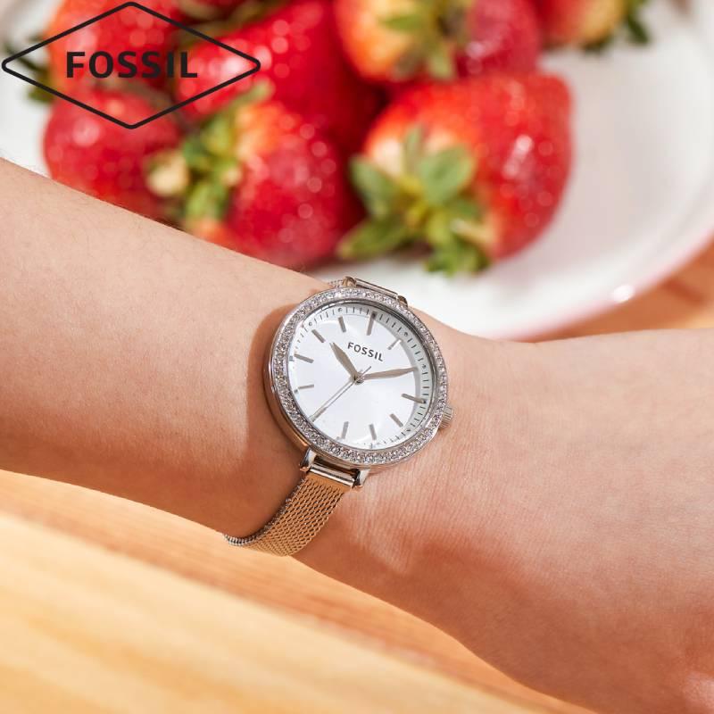 Fossil名牌正品情人节礼物送女友小巧表带简约气质轻奢满天星手表